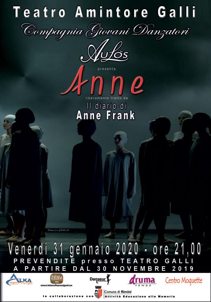 """Venerdì 31 gennaio New Aulòs Danza Rimini porta in scena lo spettacolo """"ANNE"""""""